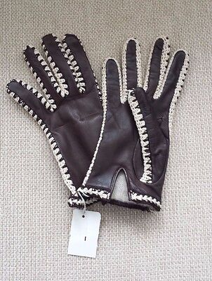 New Vintage Leather Crochet Lined Gloves  Made It Italy -Size 7 Small