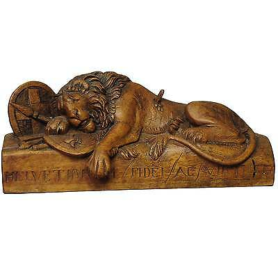 antique wooden sculpture of the lion of Lucerne ca. 1900