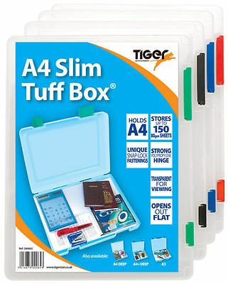 A4 Slim Tuff Box Strong Transparent Storage Filing Document Box By Tiger