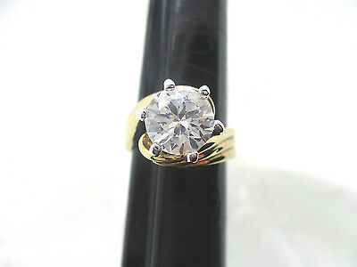 Vintage Estate Gold Tone Swirl 8Mm Round Cz Ring Size 5 Approx. 2.04 Carat Wt.