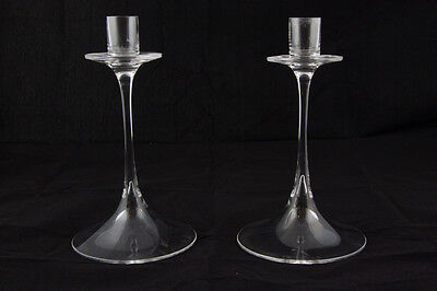 Mid Century Clear Glass Candlestick Holders