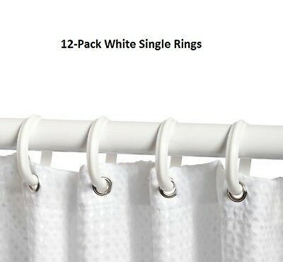 Set of 12 White Plastic Shower Curtain Ring Bathroom Hooks for Liner Rod Rings