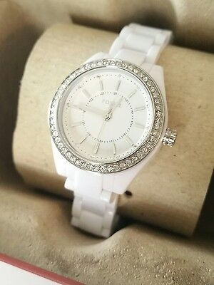Fossil Ladies Watch White with Silver Accents and Rhinestones BQ1199