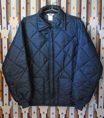 Vintage Mens BIG SMITH Navy Blue Insulated Quilted Work Jacket Sz Large