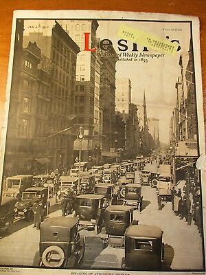 Leslie's Magazine 1/4//1917 Cover Photo Autos In The Big City,