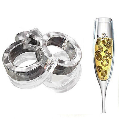 Diamond Rings Ice Tray Cube Silicone Mold Wedding Party Engagement Drink Glass