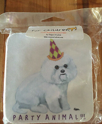 """Bichon Frise """"Party Animal"""" Rubber Coaster Set - Set Of 4 - New In Packaging"""