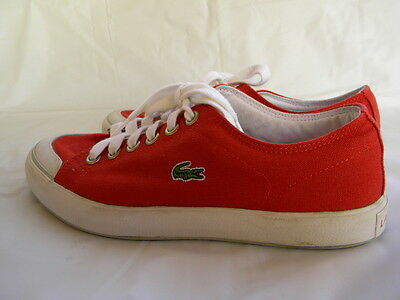 Lacoste L33 Red Canvas Sneakers Lace Up Shoes Size 8