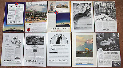 Lot of TEN original cruise line full page ads from the 1930's