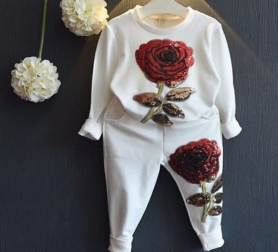 WHITE BABY GIRLS KIDS DESIGNER SEQUIN COUTURE TRACKSUIT 18 - 24 months