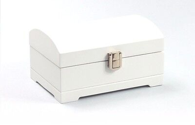 White Wooden Jewellery Box With Interior Mirror Ring Rolls