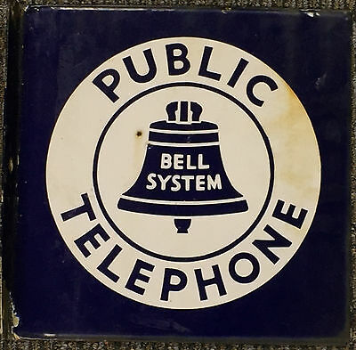 Bell System Public Telephone Double Sided Enameled Sign With Flange