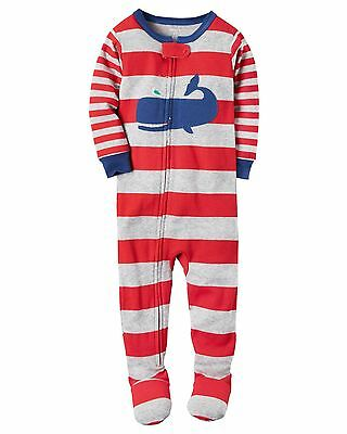 Carter's Baby Boys' Cotton Footed Pajamas Striped Whale 12M 18 M 24 M