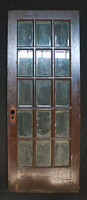 "31""x 79"" Antique Interior Exterior French Douglas Fir Door Beveled Glass Lites"