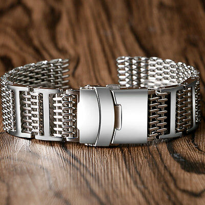 20/22/24mm Shark Mesh Mens Wrist Watch Stainless Steel Bands Straps Replacement