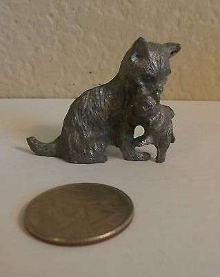 """Vintage Cat Kitten Figurine Pewter Mama Carrying her Baby 1 3/8"""" high"""