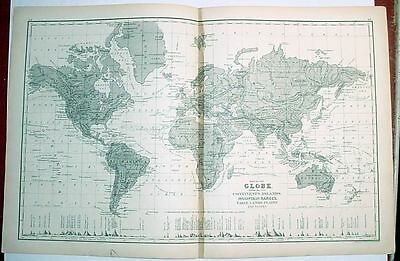 1879 World Map: Continents, Islands, Mountain Ranges