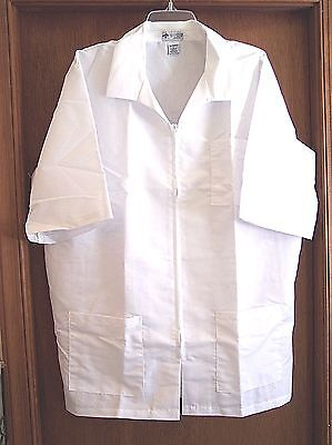 Lab Coat/pharmacy Smock - Short-Sleeve - Zippered Front - Medline - Size L - New