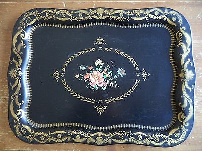 Large Vintage Tole Dresser Tray Decorative Black with flowers