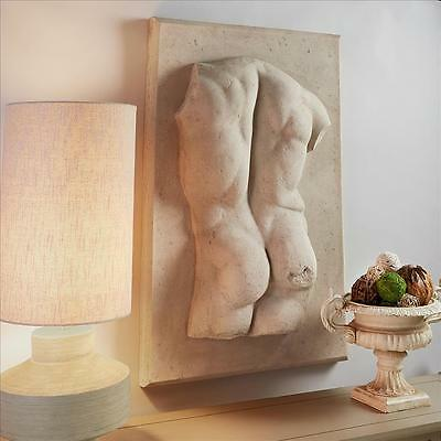 "Ancient Greek Male Nude Torso Large 33"" Handmade Wall Sculpture"