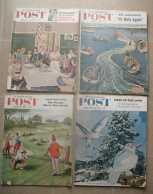Vintage Saturday Evening Post Magazine Lot of 4 from 1957 & 1958