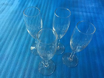 Lot Of 4 Etched Fluted Crystal Champagne Stemware Chateau Monet