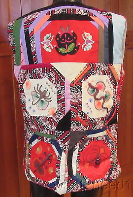 vtg handmade Chinese multicolor red PATCHWORK EMBROIDERY APPLIQUE VEST M animals