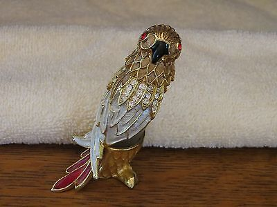 Adorable Parrot ~  Perfume Bottle Of Metal And Glass And Enamel Painted