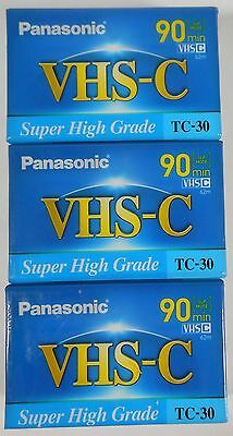 PANASONIC TC-30 - 30/90 Minute VHS-C CASSETTES Lot of 3 Blank Camcorder Tapes