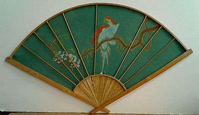 """Large Antique Silk & Wood Parrot On Vine,Hand Fan,Wall Hanging 27"""" W x 16"""""""