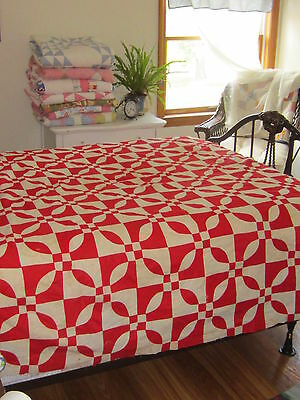 Beautiful Classic Antique Turkey Red Quilt Top 71 X 84""