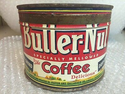 """Vintage BUTTER-NUT COFFEE """"STEELY"""" Advertising Tin, Paxton & Gallagher Omaha NE"""