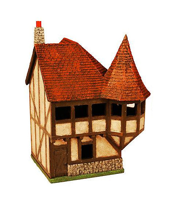 Miniature Building Authority 25mm Corner House w/Turret + Box - Product Id 10183