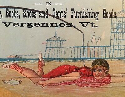 3 1880s Antique Advertising Victorian TRADE CARD SEASIDE Fishing Vergennes VT