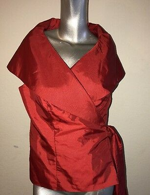 Alex Evenings Red Wrap Bolero With Side Tie Size Large
