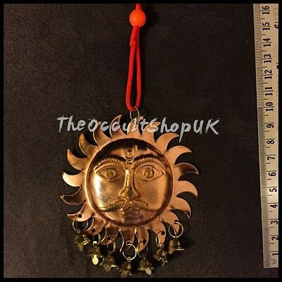 Sun Face Surya Copper Wall Hanging Chimes Feng Shui Hindu Altar Wicca Gothic Om