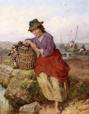 Oil painting young fishwoman & her Fish basket by river landscape Hand painted