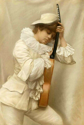 Oil painting Edmondo Pizzella young woman wearing white cloth holding violin art