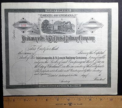 1800's Indianapolis & St. Louis Railway Company stock certificate! Un-issued!