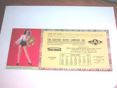 """Vintage Pin Up Girl Ink Blotter Advertising For """"tab"""" Electric Co. Calendar"""