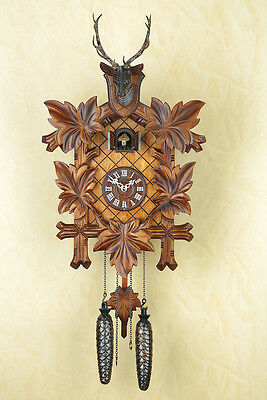 Beautiful Quartz Cuckoo Clock,Cuckoo Clock with Antlers, Black Forest, Wall 355q