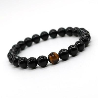 JOCALIO Perlen-Armband Tigerauge Herren Men Fashion Onyx Obsidian Black Beads
