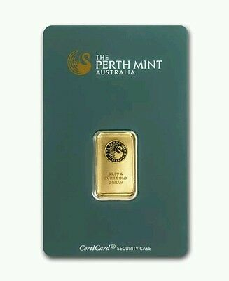 5 Gram Perth Mint - .999 Fine Gold Bar - In  Certi-Card  Assay Certificate
