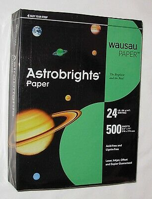 New Gamma Green Wausau Astrobrights 24 lb Letter 8 1/2 x 11 Ream 500 Sheets