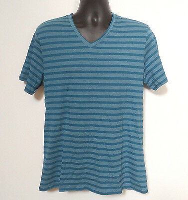 The Rail Nordstrom Stripe Cotton Blue White Tee Mens Size L T Shirt Short Sleeve