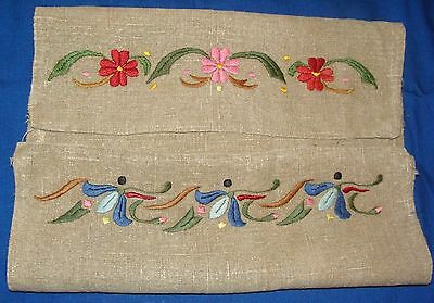 FABULOUS Early VT~Antique Arts & Crafts Embroidered Heavy Linen Runner~39 x 18""