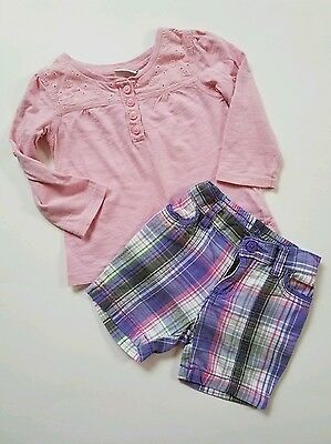 Girls Easter Shirt Plaid Shorts Pink Purple Size 18 Months Childrens Place