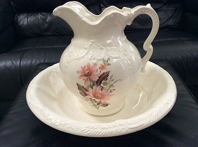 Vintage Arnels Wash Basin and Water Pitcher White & Pink Floral