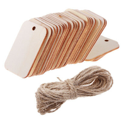 25 Wooden Label Unfinished Rectangle Blank Wood Gift Tags for Wedding Party