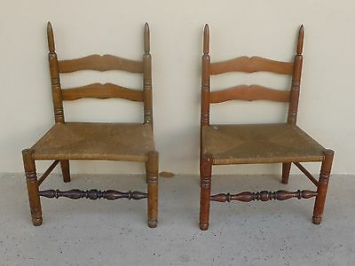 Very Unusual Pair Of Antique Children's Ladderback Chairs W Elongated Posts